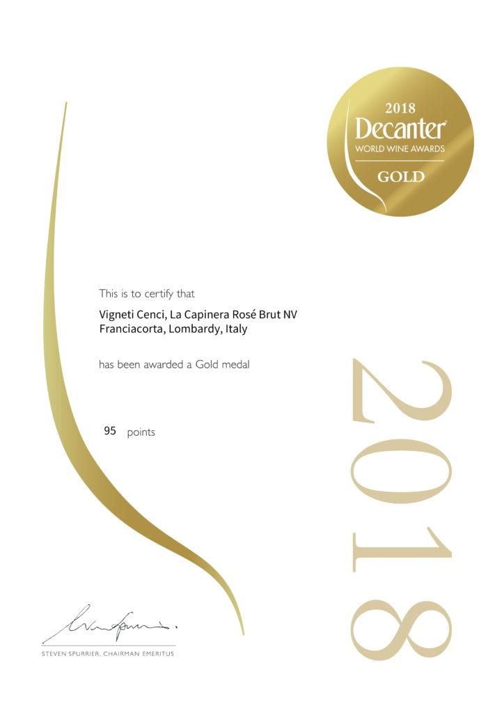 la capinera rosé brut gold decanter world wine awards 2018 vigneti cenci