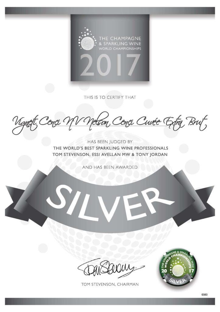 silver the champagne & sparkling wine word championship vigneti cenci